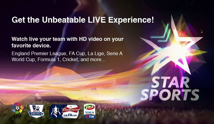 Watch Star Sports in UK using Smart DNS or VPN outside India. Stream Barclays Premier League, FA Cup, La Liga, Seria A, ICC Cricket World Cup online.