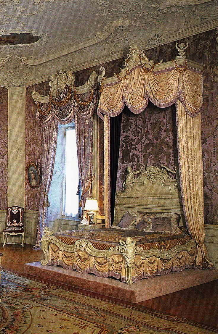 Mrs. Vanderbilt's lilac colored  Rococo Revival style bedroom at Marble House