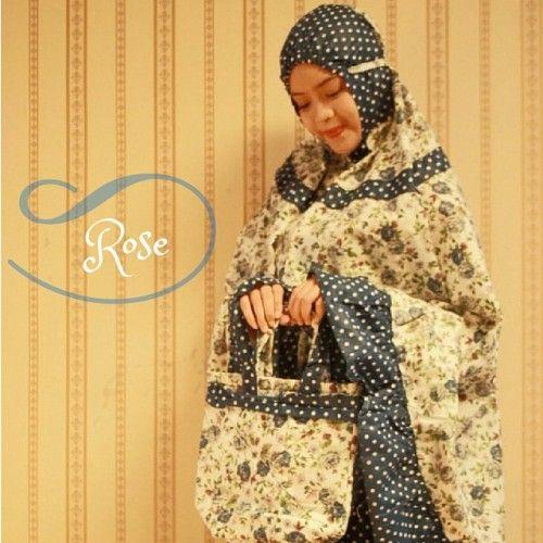 Mukena Cantik Blue Rose, Mukena Katun Jepang - Muslim Online Shop | Yukbisnis