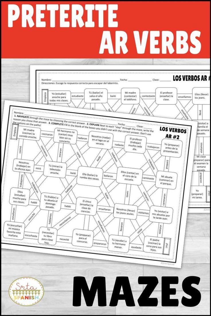 Preterite Regular Ar Verbs Spanish Maze Practice Activity With Digital Option Middle School Spanish Activities High School Spanish Classroom Spanish Lesson Plans