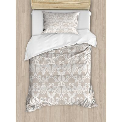 Ambesonne Nature Garden Themed Pattern with Damask Imperial Tile Rococo Inspired Stylized Duvet Set Size: