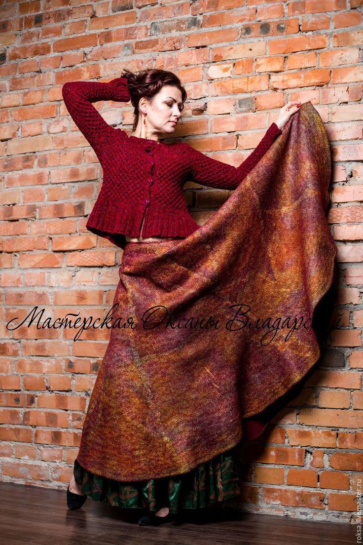 """Купить Юбка нуно-войлок """"Золотая марсала"""" - женская юбка, юбка в пол, юбка длинная"""