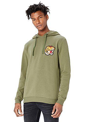 FIND Sweat-Shirt à Capuche avec Patch Tigre Homme Vert (Dusty Olive) Medium 800824ba6f3