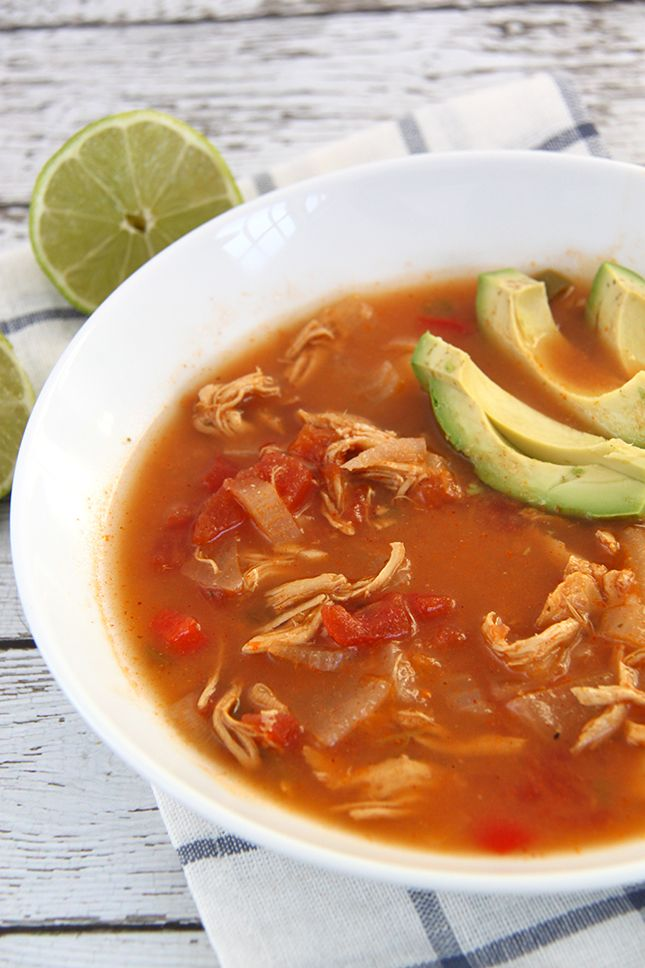 Slow Cooker Chicken Tortilla Soup (Paleo and Whole 30 Approved) - Smashed Peas & Carrots