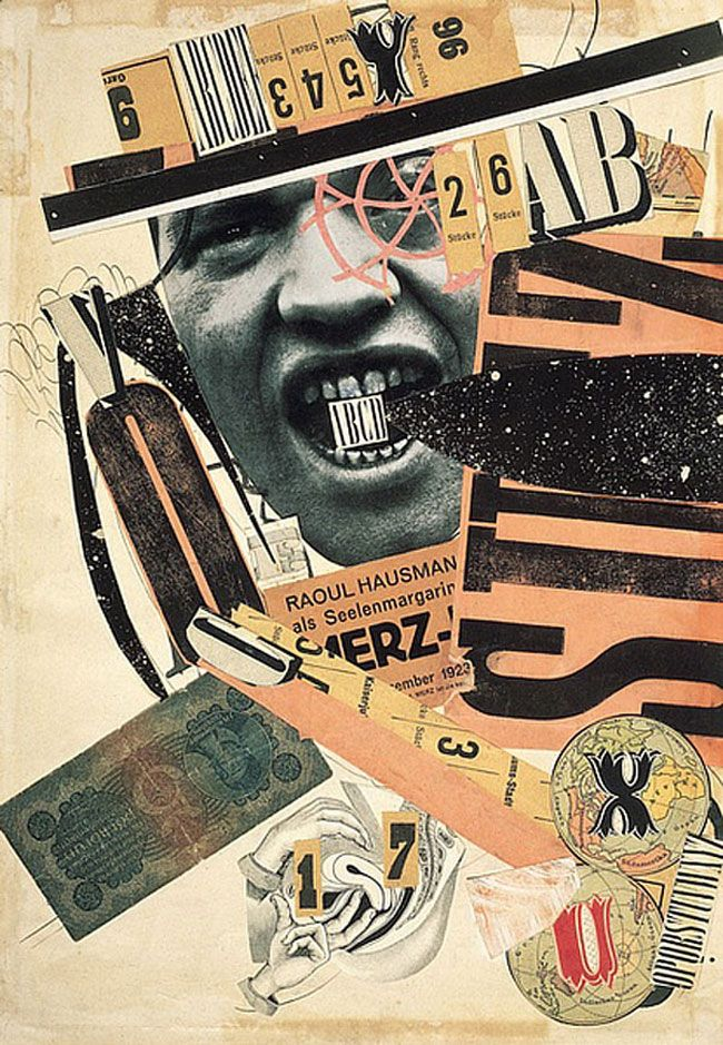 ABCD Self-portrait (deliberately random assemblage of newspaper clips and cutout letters) by Raoul Hausmann, 1923