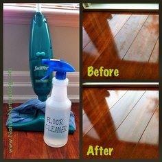 DIY corner: Wood floor cleaner 1 c water, 1 c vinegar, 1c alcohol, 2-3 drops dishwashing soap.....for shiny wood floors PLUS stainless steel