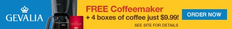The Todd and Erin Favorite Five Daily is out--4 big fat boxes of Gevalia coffee for $9.99, along with a FREE coffeemaker and FREE shipping