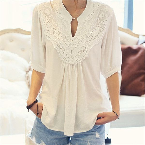 Half Sleeve Lace Lady Blouses