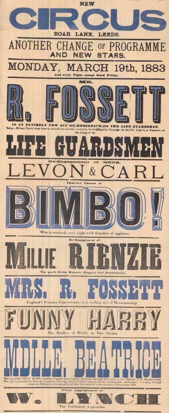 Woodtype poster. Um poster impresso com tipos de madeira, em grandes tamanhos, composto por linhas de texto curtas. Estes cartazes eram essencialmente verticais e hierarquizados, apresentando uma grande variedade de tipografias.