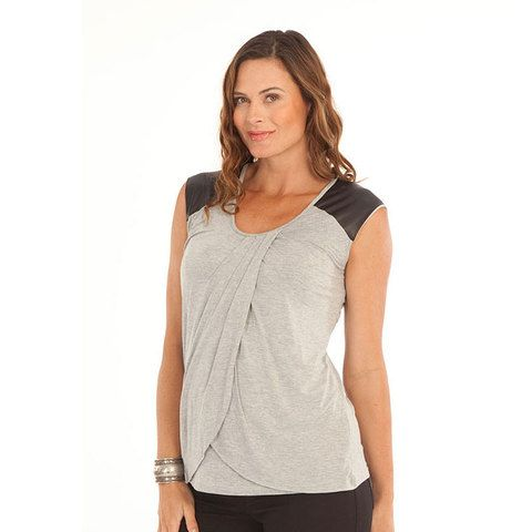 Soft, bamboo tunic nursing top with faux leather shoulder patches. Comfy, breathable 95% bamboo, 5% spandex. Great for sensitive, itchy skin due to pregnancy or eczema sufferers. ladies sizes: XS – XXL. Maternity Clothing online at Blank Clothing Australia