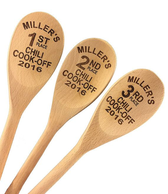Chili Cook Off Custom Engraved Wood Spoon Prizes Set of 3