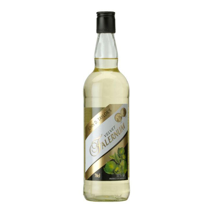 Velvet Falernum  Falernum è uno sciroppo alcolico creato da John D. Taylor di Bridgetown nel 1890. Il suo gusto rinfrescante e raffinato è prodotto dall'infusione di succo di Lime con sciroppo di canna da zucchero, mandorle e chiodi di garofano.  E' utilizzato in deversi cocktail caraibici fra cui i classici 1939 Zombie, Port Antonio, White Lion ecc…  Gradazione: 11%  Capacità: 70cl