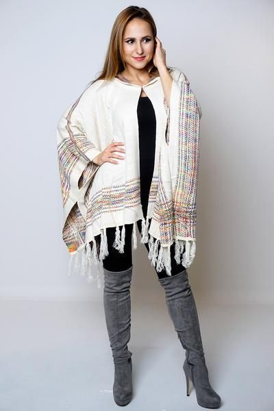 Perfect casual/comfy fit ponchoAvailable in different coloursSoft to touch thick knitwearMulticoloured with trendy tassel fringe on hemOne size (Fits U.K 8-18,