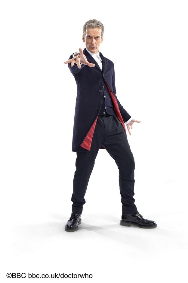 "It might seem tame at first, but let's not discount that sharp cardigan and epic red lining. | Peter Capaldi's ""Doctor Who"" Ensemble Is Revealed!"