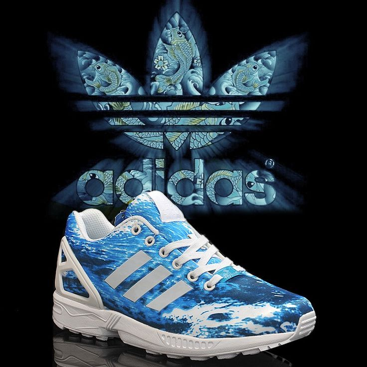 UK Sale Adidas Originals ZX Flux Limited Edition Ocean Blue + White Womens Running Trainers