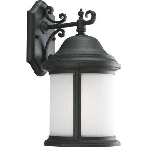 1 Light Outdoor Wall Lantern by Progress Lighting. $142.20. Traditional Outdoor Wall Light in Black with Etched Water Seeded glass from the Ashmore Collection by Progress Lighting. Dimensions: 17.00 H 8.38 W 10.50 E - P5875-31STR