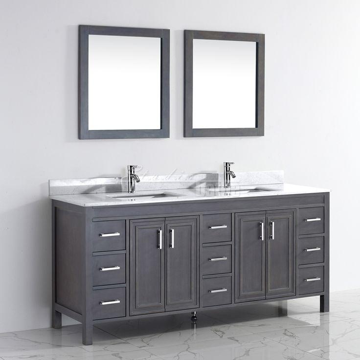 Corniche 75 Inch Double Bathroom Vanity French Gray Finish Rustic Bathroom Vanities
