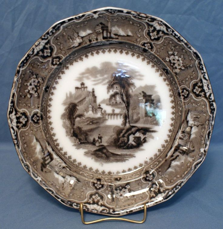 """Flow Mulberry Ironstone 9"""" 12-Panel Plate, Alcock in Vincennes Pattern 1857 