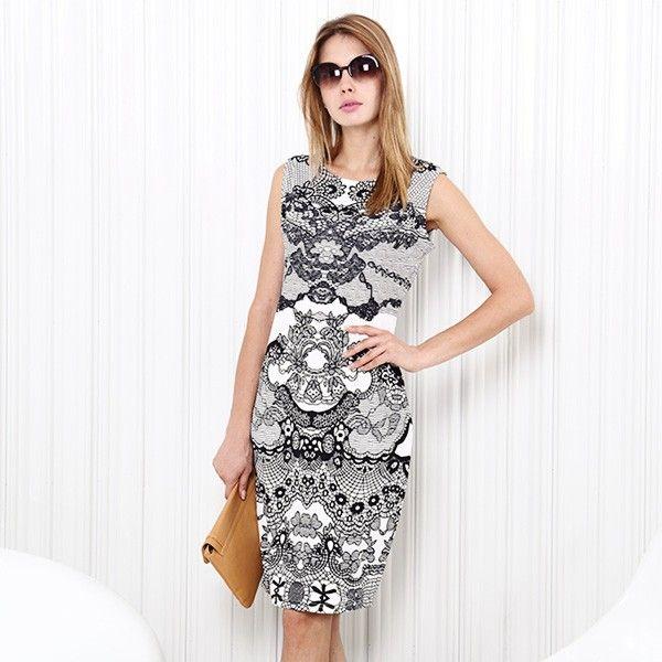 Gemustertes Kleid Schwarz-Weiß - Jetzt reduziert bei Lesara