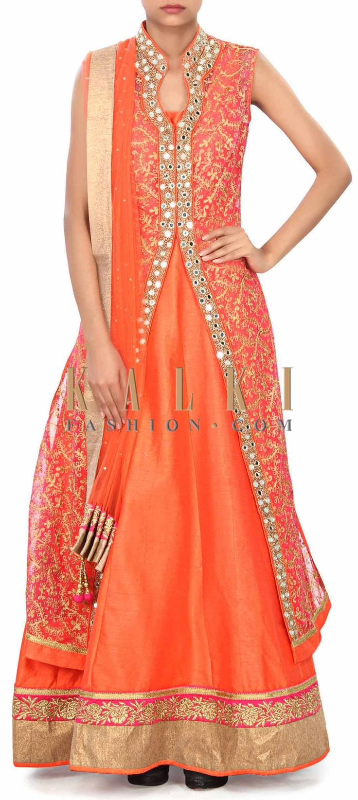 Buy Online from the link below. We ship worldwide (Free Shipping over US$100) Price- $279 Click Anywhere to Tag http://www.kalkifashion.com/dark-peach-anarkali-suit-with-jacket-enhanced-in-aari-work-only-on-kalki.html
