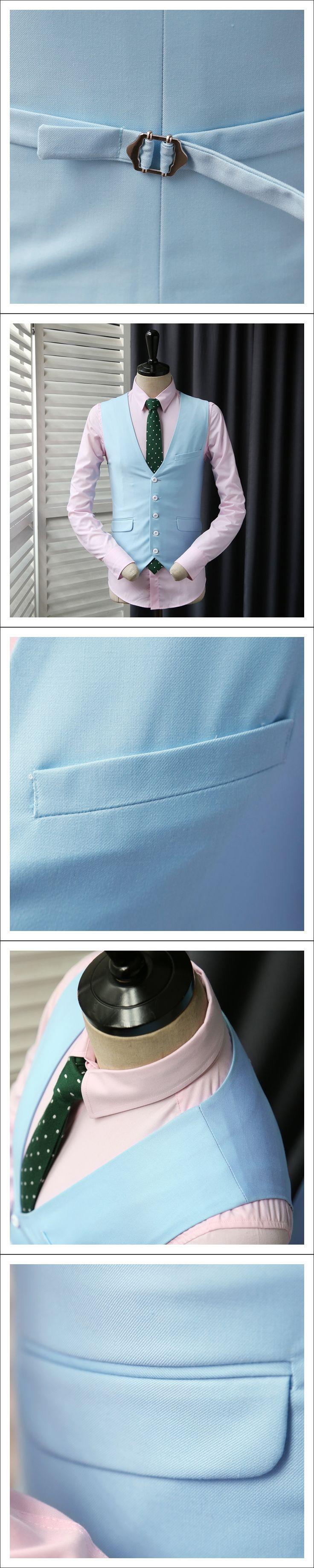 Suit Vest Men Jacket Sleeveless Sky Blue Vintage Tweed Vests Fashion Spring Autumn Plus Size Waistcoat Design