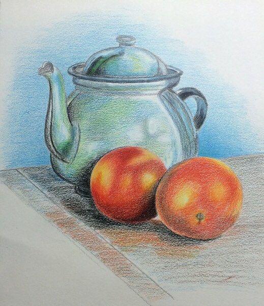 Still Life Original Colored Pencil Drawing by JeselyzArtShop