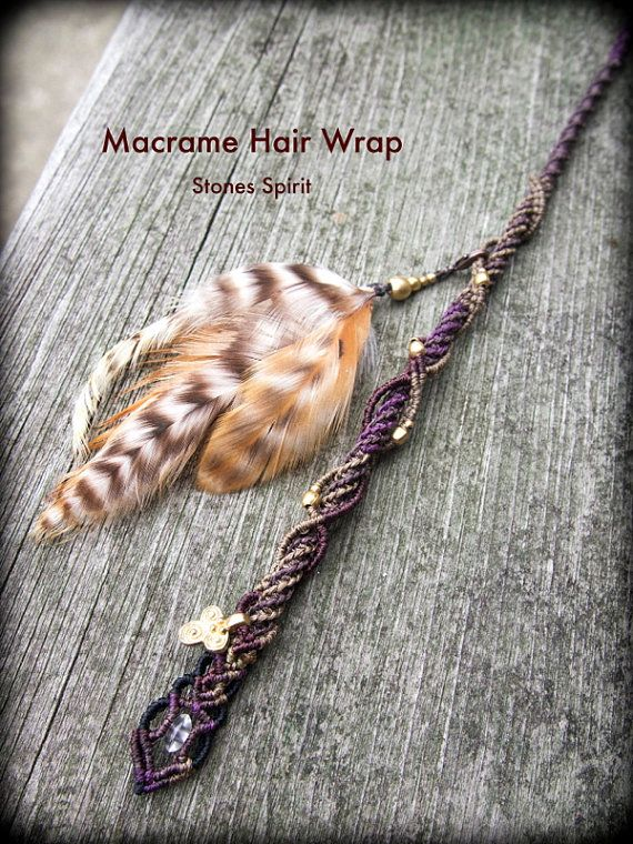 Macrame Pixie Hair Wrap Clip Feather / Hair by StonesSpiritJapan, $48.00