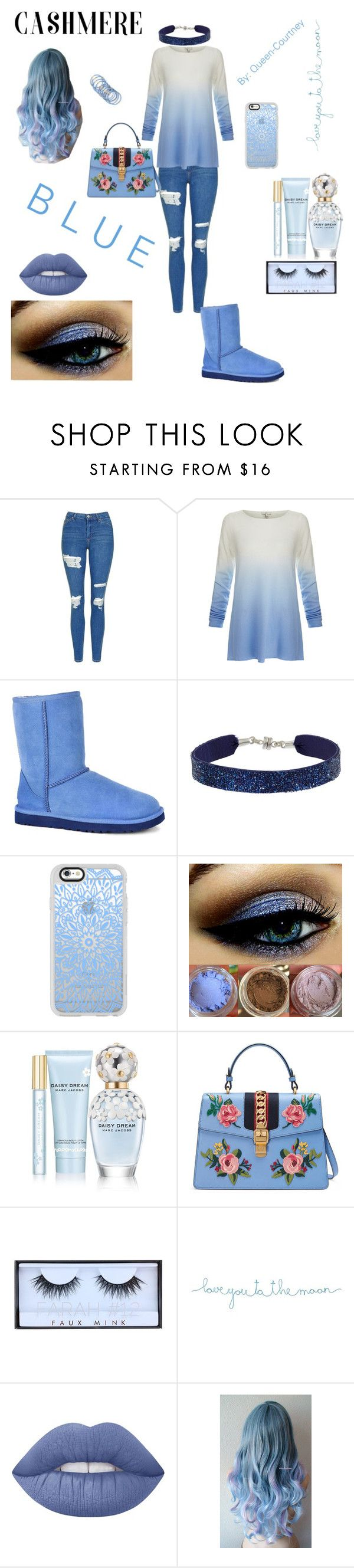 """""""B L U E// Cashmere Sweater Entry"""" by queen-courtney ❤ liked on Polyvore featuring Topshop, Joie, UGG Australia, She.Rise, Casetify, Marc Jacobs, Gucci, Huda Beauty, Natural Life and Lime Crime"""