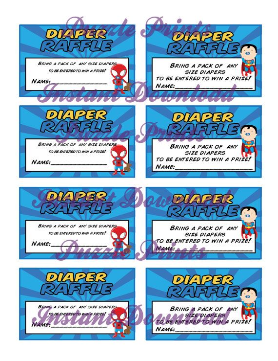 Instant download printable superhero baby shower diaper for Office depot raffle ticket template