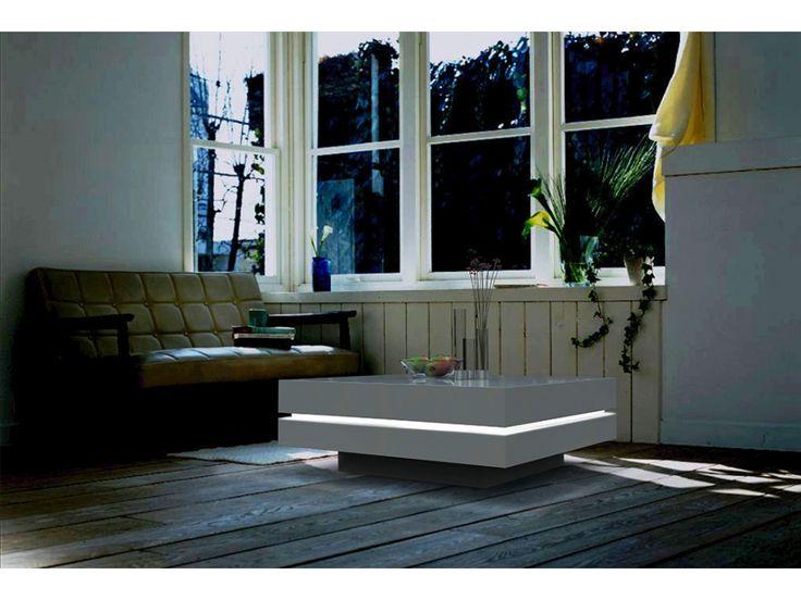 Table basse LYESS - MDF laqué blanc - LEDs