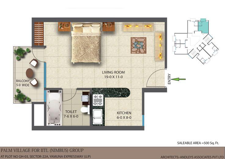 500 Sq. Ft. Floor Plan IITL Nimbus THE GOLDEN PALMS
