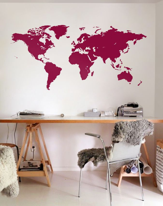 Large Vinyl wall World map decal - Removable Detailed World map mural wall…