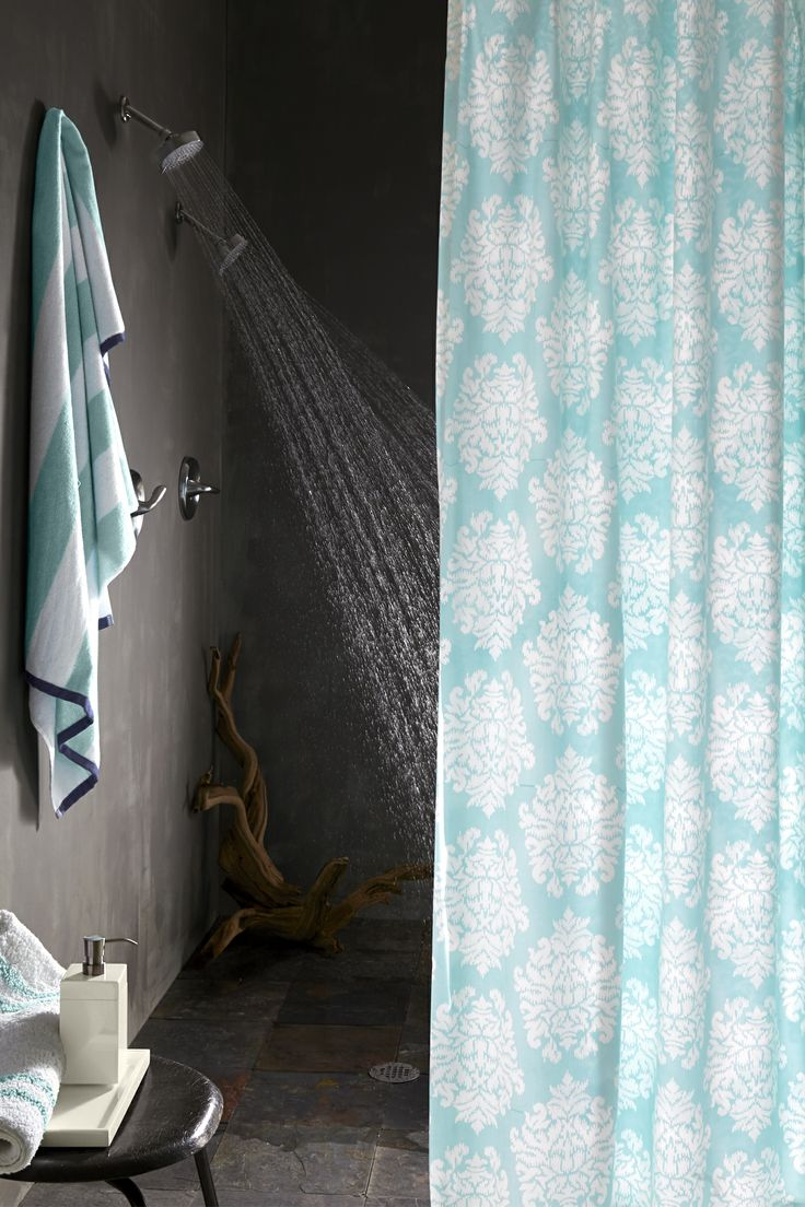 Ikat Medallion Reversible Shower Curtain Fancy BathroomsDream