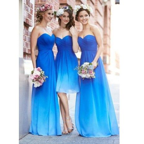 93 best bridesmaid dresses images on pinterest evening gowns cheap ombre blue bridesmaid dresses in stock sweetheart pleat long chiffon beach bridesmaid dress wedding party gowns junglespirit