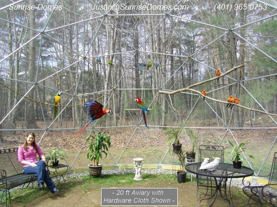 20 ft geodesic dome outdoor aviary flight cage animal pen. Black Bedroom Furniture Sets. Home Design Ideas