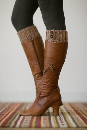 Knitted Boot Cuffs, Faux Leg Warmers, or Boot Toppers with Chunky Knit and Wooden Working Buttons for Women and Teens in Dark Caramel Tan on Etsy, $28.00 by WeAreAllMadHere