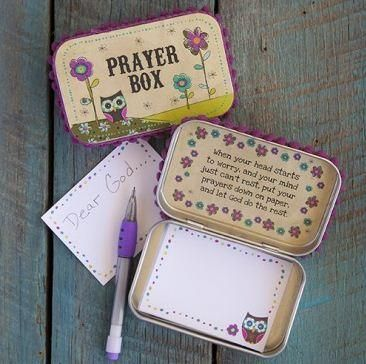 Prayer Box. Great idea to keep in the home