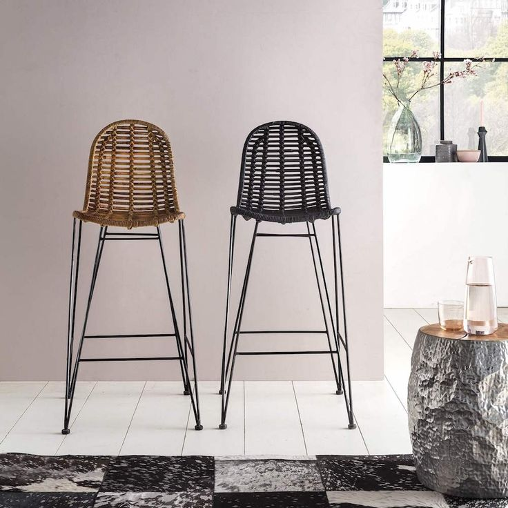 Rattan kitchen breakfast bar stools. Cool funky retro home kitchen ideas by Smithers