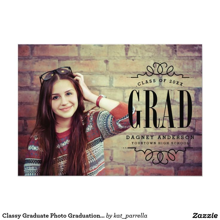 graduation party invitation templates for word%0A Classy Graduate Photo Graduation Party     X     Invitation Card