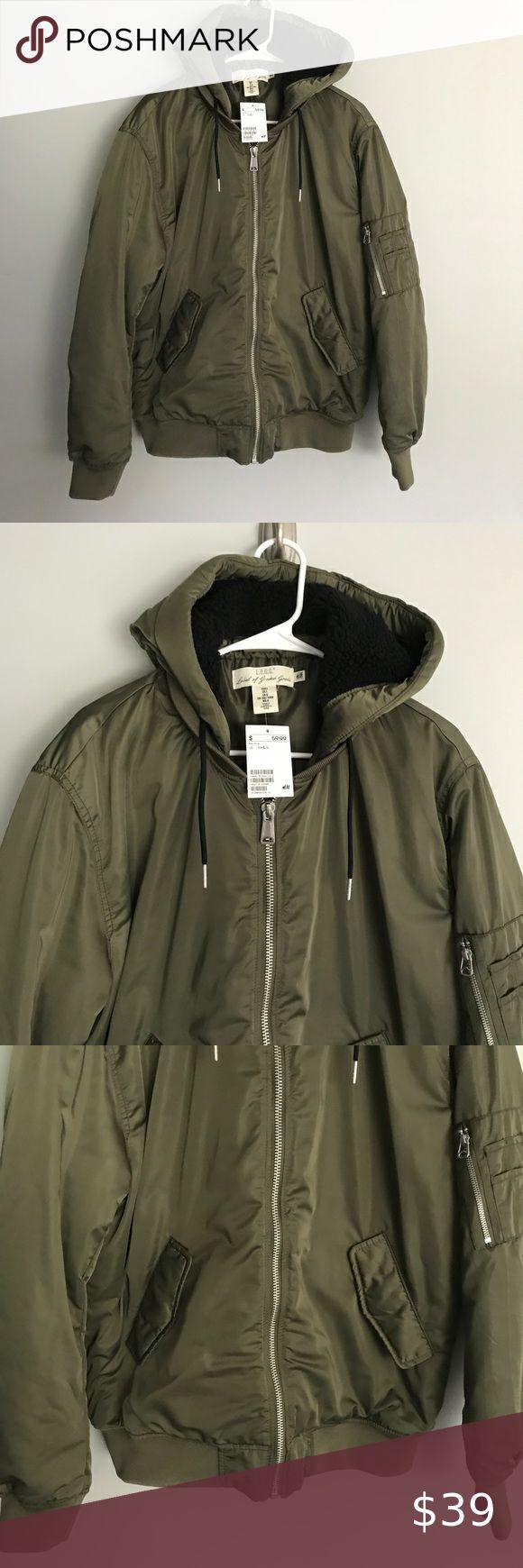 NWT HM men hooded bomber puffer coat olive green L New