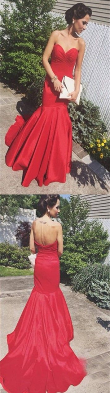 Consignment Prom Dresses Charming Red Mermaid Prom Dresses Simple Sweetheart Ruched Open Back Prom Dresses Satin Evening Formal Gown Online Vestido Festa Grecian Prom Dresses