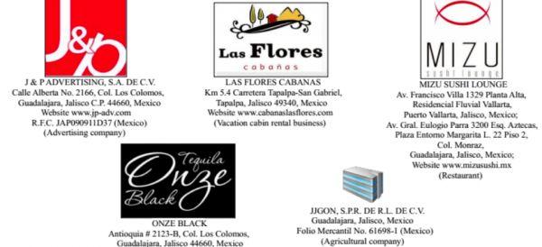 Las cinco empresas que fueron señaladas por brindar apoyo financiero a las actividades de tráfico de drogas del CJNG, están ubicadas en Jalisco.
