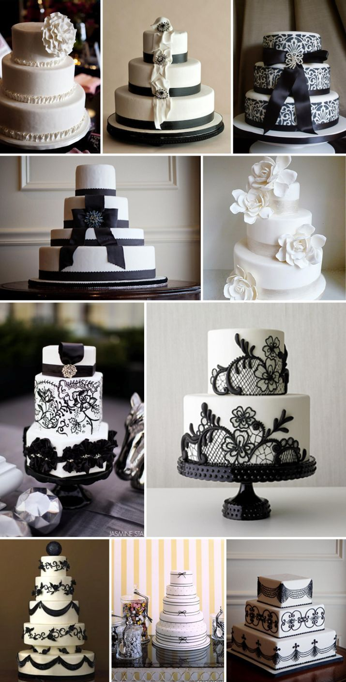 black and white wedding cakes = coco chanel cakes?    Cake is good.  These are pretty.  Perhaps in the wedding colors? the fourth one with the sold color bow is so plain yet beautiful to me , to switch it up I would add a vintage design or lyrics to a song .