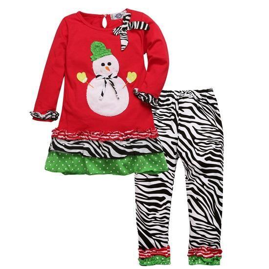 Santa Claus Pattern Clothes T-shirt + Pants 2pcs Set 8 Designs