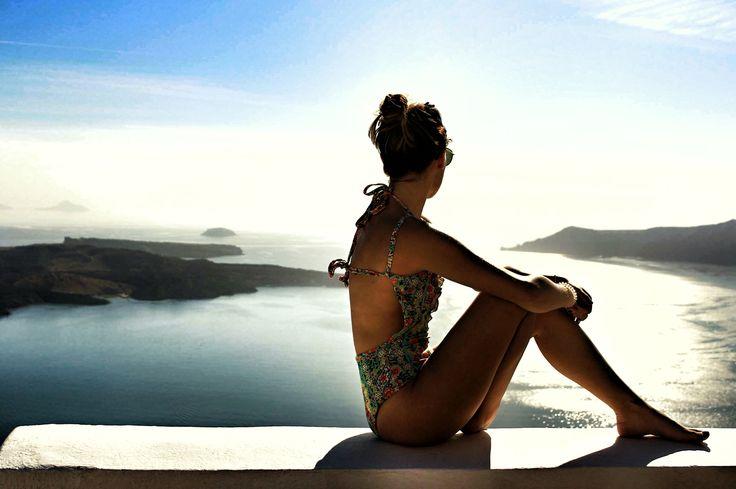 Greek beauty via @mallorythelabel || floral swimsuit