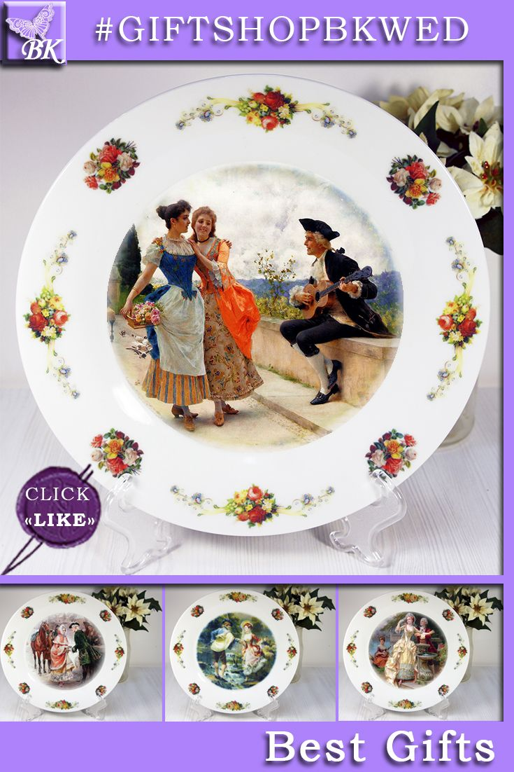 """Italian painter Federico Andreotti (1847-1930). """"Street Flirt"""" Plates The """" Pastoral """" series is ideal for gift. Our porcelain plates are ideal for interior and will look great in your collection! #giftshopbkwed #decor #home #accessory #gift #porcelain #picture #print #accessories #walldecor #plates #homedecor #shabbychic #frenchstyle"""