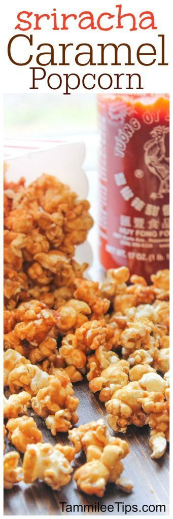 Super easy and delicious homemade Sriracha Caramel Popcorn Recipe! Perfect for a sweet spicy snack dessert treat! Valentines Day, Christmas, Super Bowl Football Parties or any day of the week. (Bake Quotes Homemade)