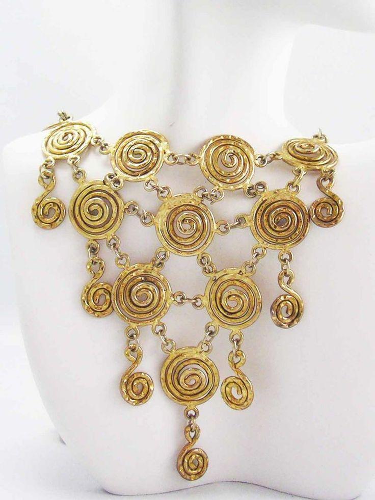 GLAM!!! Golden Etruscan Egyptian Revival Vintage Swirly Bib Necklace~ MAGAZINE~