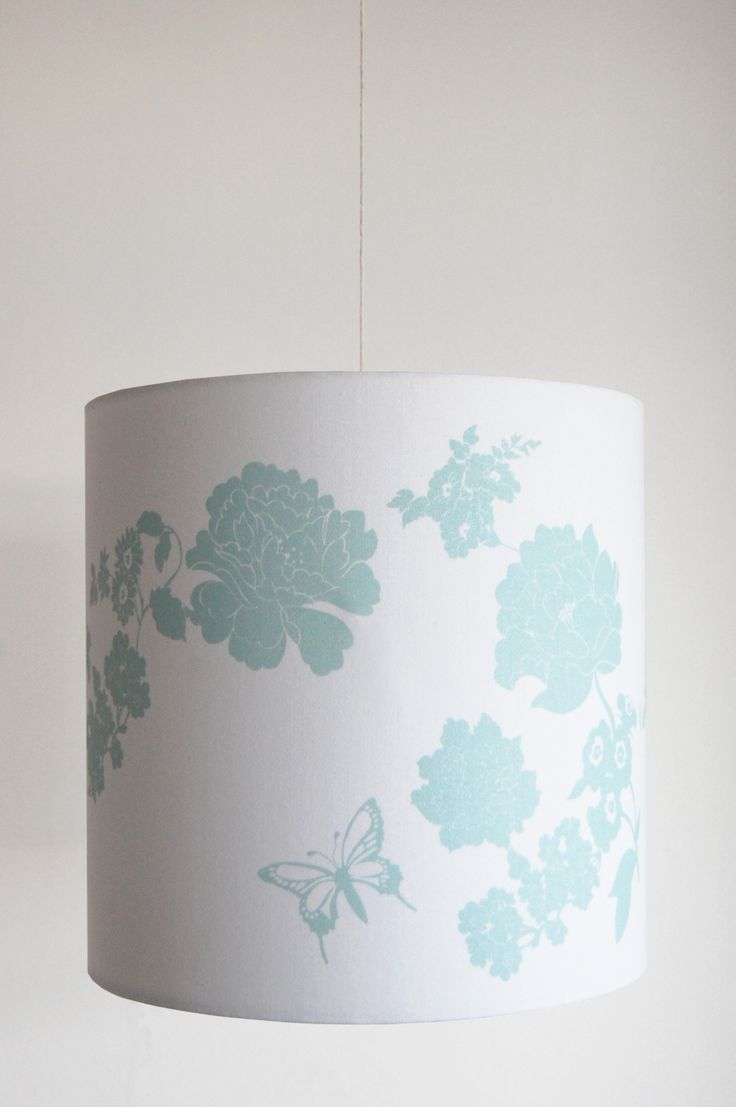Laura Felicity Design Pretty Flower Lampshade Duck Egg Blue 6 Sizes Available From