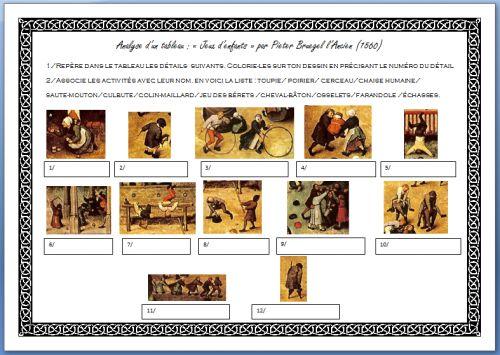 """Activités autour de """"Jeux d'enfants"""" de Bruegel : détails à repérer, jeux à nommer, coloriage..."""